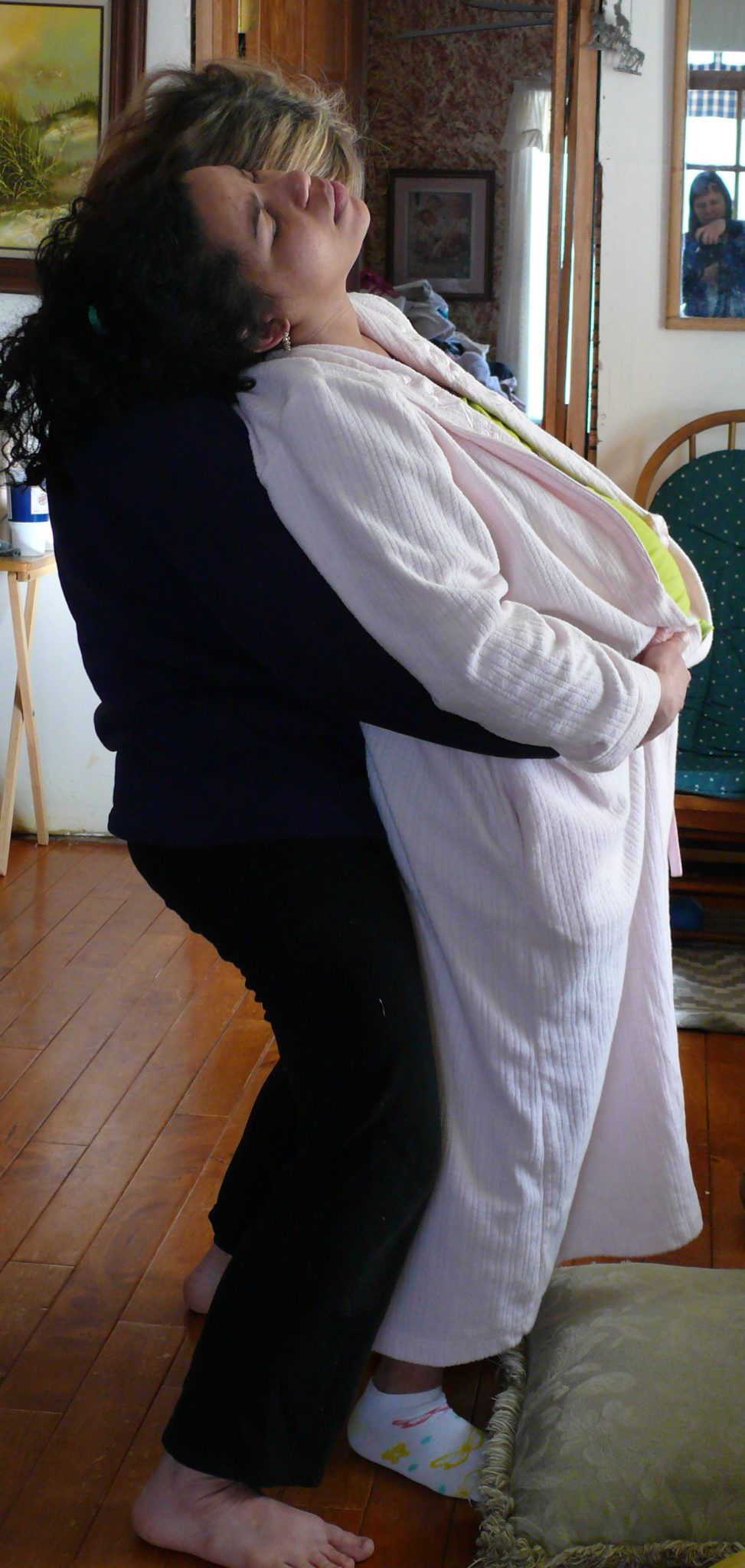 Abdominal lift during a contraction